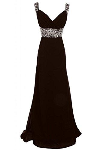 Sunvary formale romantico con scollo a V abito da sera, per autunno Pageant taglia Gowns Chocolate