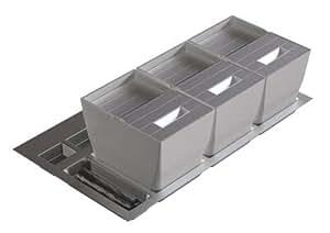 Générique - Poubelle de tiroir tir selectif couvercle inox-pour meuble de 600 mm - Contenance l.13 + 13 - Haut. mm.235 - Larg. mm.454 à 540 - Prof. mm.414 à 490 -