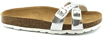 Zapatillas GRUNLAND Sara CB0348 Plateadas para Mujer fibkette Birk