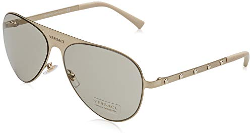 Versace Unisex-Erwachsene 0VE2189 1339/3 59 Sonnenbrille, Brushed Pale Gold/Light Brown
