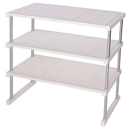 KIWG Regal,Stapelbarer Küchenständer, Zweilagiger Geschirrständer Für Die Haushaltsbeschichtung, Tischablage,White