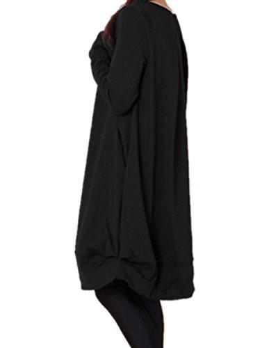 ZANZEA Femme Lâche Manches Longues Imprimé Shirt Robe Top Pull-over Jumper Tunique Longues Blouse Noir