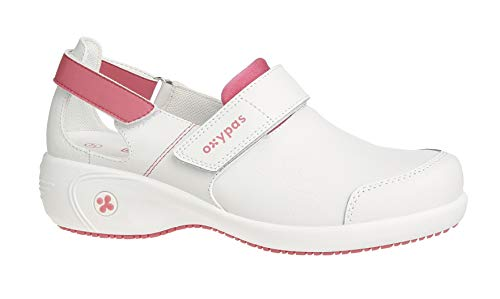 Oxypas Move Up Salma Slip-resistant, Antistatic Nursing Shoes, White/Fuchsia (Fuchsia), 5.5 UK (39 EU)