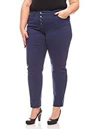 65090f7b85c5 Sheego Hose Damen Stretch-Hose mit Knopfleiste Trendhose Große Größen Blau