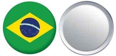 Miroir insigne de bouton Brésil drapeau - 58mm