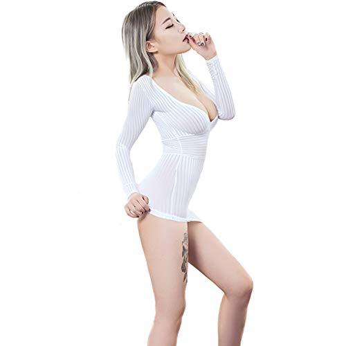 DLT Enge Streifen tiefer V-Ausschnitt Sexy Zebra Bustiers, Cosplay Ol Büro Bar Ol Büro Nachtclub Open Teddy Erotik Kleidung, Strampler Minikleid (Farbe : Weiß) -