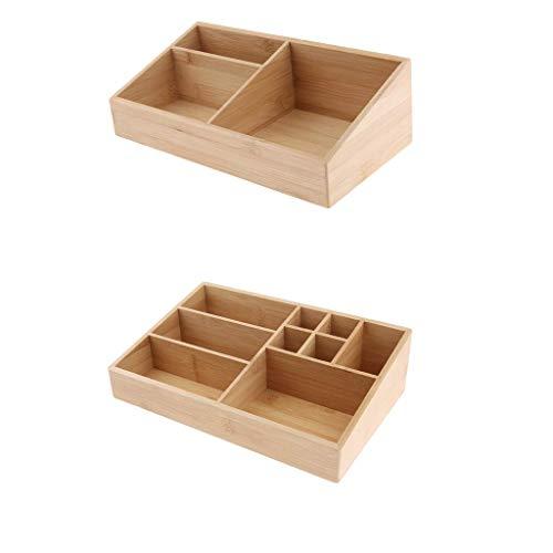 Hellery 2pcs Holz Make Up Veranstalter Kosmetische Lagerung Auf Arbeitsplatte Badezimmer