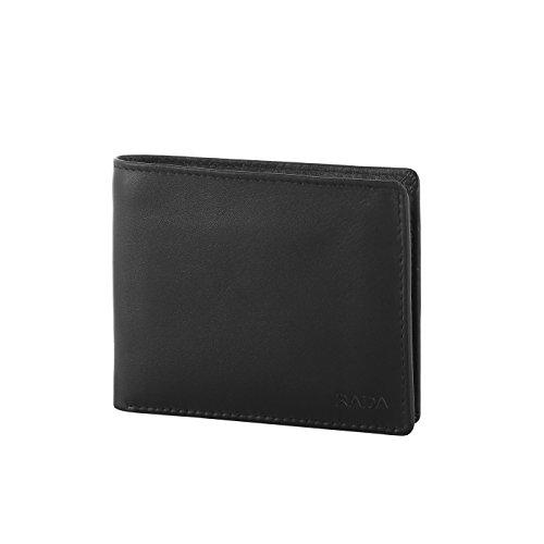 Rada Herren Geldbörse aus echtem Leder, Edler Geldbeutel, Portmanaie für Männer, 14 Kreditkartenfächer, 2 Geldscheinfächer, (schwarz)