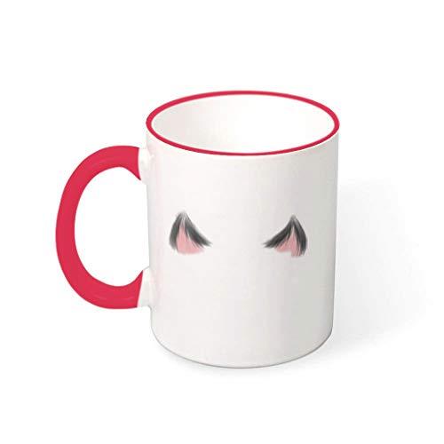 O4EC2-8 Katzenohren Getränke Kaffee Becher Tasse mit Griff Keramik Funny Becher - Süß, Kinder verwenden 11 oz mred 330ml