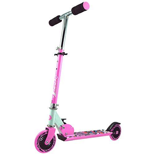 Best Sporting Scooter 125er Rolle, Basic Tretroller f&uumlr Kinder, klappbar, ABEC-5 Kugellager, Farbe pink/weiß