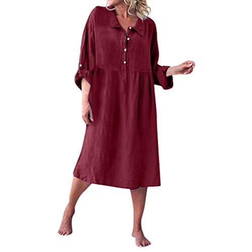 Overdose Damen Freizeit Kleider Leinenkleider 1/2 Ärmel Rundhals Einfarbig Casual Urlaub Sommerkleider Strandkleid Midi Dress Frauen kostüme übergröße (EU 38/CN M, X-z-Wine)