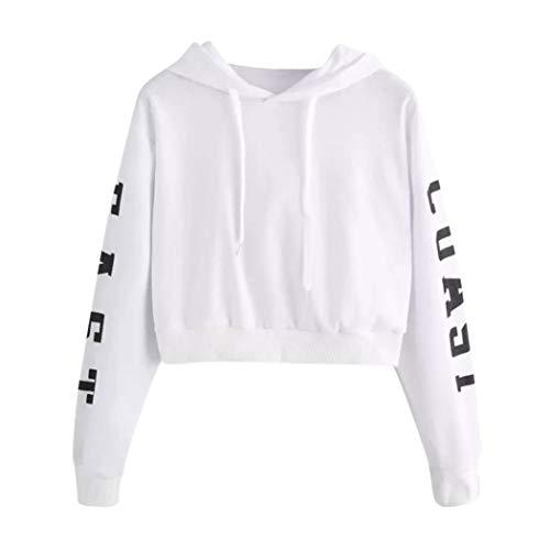 JURTEE Damen Herbst Kapuzenpullover Briefe Langarm Hoodie Sweatshirt Pullover Tops Bluse Hooded Oberteile(Small,Weiß)