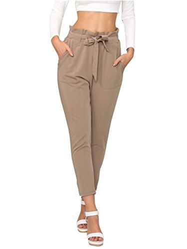 Simplee Apparel Damen Hosen Elegant High Waist Stretch Chiffon Skinny Hosen Pants Casual Streetwear Hosen mit Tunnelzug- Gr. 38 / L, Hell-Braun