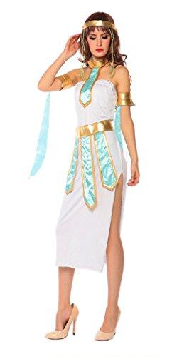 Honeystore Damen Halloween Kostüme Kleopatra und Griechischen Göttin Cosplay Karneval Allerheiligen Kleider Weiß und Grün (Genial Günstige Halloween Kostüme)
