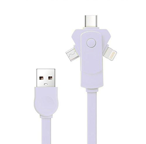 [Version la plus récente] Câble chargeur USB multiple, SMTR 3 en 1 360 adaptateur rotatif Micro adaptateur rotatif gratuit avec connecteur 8 broches / USB C / Micro USB / Mini ports USB pour iPhone 7 7plus SE 4s 5 6 6s Plus iPad, Samsung, Huawei, Xiaomi, Meizu, ZTE, Lenovo, LG, Zenfone et un autre téléphone Android(blanc)