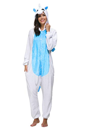 Animali Pigiama Unisex Carnevale Cosplay Costume Sleepwear Halloween per Adulti (S(Fit 148-160CM), Blu Unicorno)