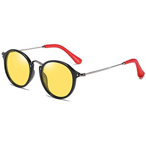 HQMGLASSES Damen Sonnenbrille Polarisierte Retro Herren Rund Fahrenbrille UV 400 Schutz mit TR90-Rahmen Bügel Edelstahl und Enden aus Roten PU für Angeln Freizeit,BlackFrame/YellowLens