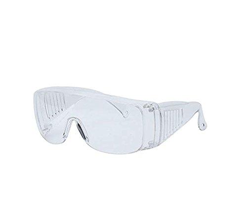 Futuristische übergroße Profi-Schutzbrille mit klarem Rahmen, transparenter Linsenschutz, Chemieschutzbrille über Brille ()