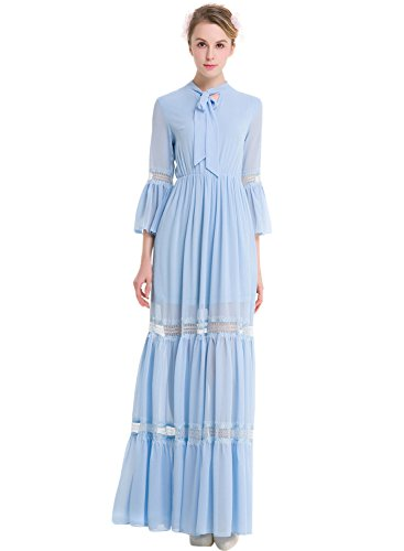 Azbro Women's Self Tie Collar 3/4 Sleeve Maxi Chiffon Dress Light Blue