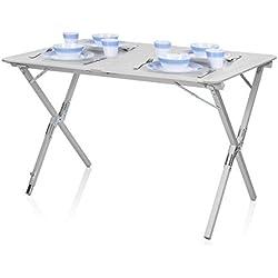 Table de camping Campart Travel TA-0802 – Plateau à enrouler 110 x 70 cm