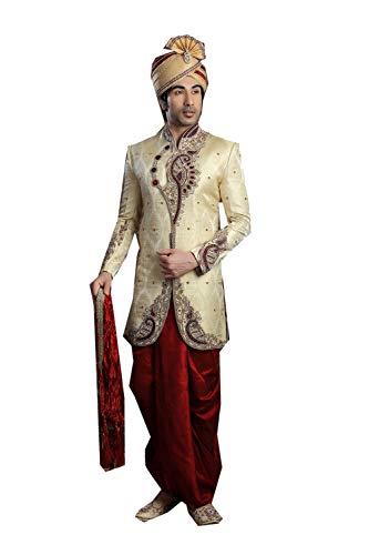 Indian Designer Partywear Traditional Ethnic Gold Mens Wear Sherwani. -