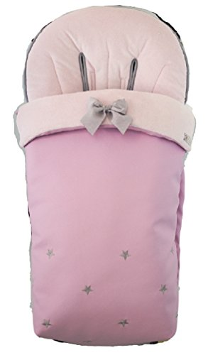 BORDAYMAS/ Winterfußsack für Kinderwagen, Aus wasserdichtem pinkem synthetischem Kunstleder, bestickt mit Sternen in grauem und extra - weichem pink synthetischem Haar. Hergestellt in Spanien