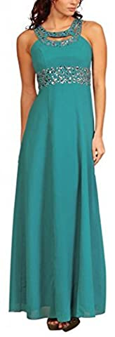 Long Chiffon Evening Dress Cocktail Gown Empire Rhinestones Turquoise Size 10