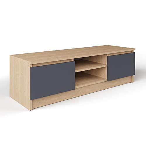 Vicco Lowboard NEVIA Sonome Eiche - Fernsehschrank Sideboard TV Fernsehtisch (Front Anthrazit)