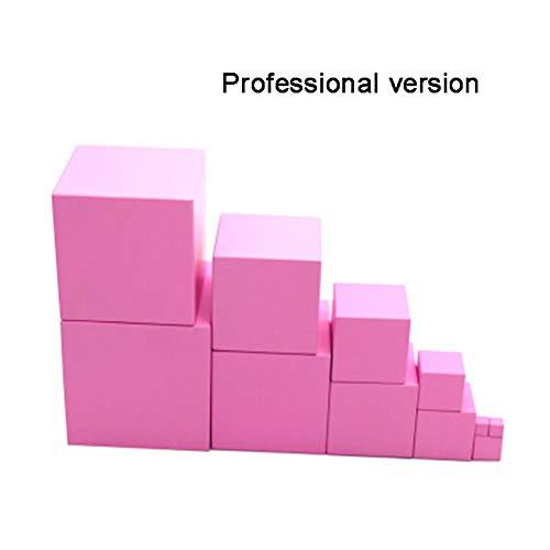 Zantec Giocattolo educativo Bambini Montessori Wooden Pink Blocks Tower Building Toy Smart Puzzle Forma di legno accatastamento giocattolo Matematica Early Educational Toy Edizione professionale