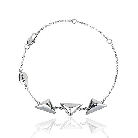 Gioiello breil collezione rockers jewels, bracciale da donna in acciaio colore silver misura 21cm - tj2588