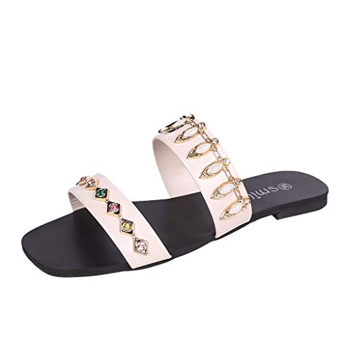 ZIYOU Damen Hausschuhe mit Glitzersteine Einfarbig Mode Runde Zehe Fläche Schuhe Casual Peep-Toe Sandalen Sommer (Beige,37 EU)