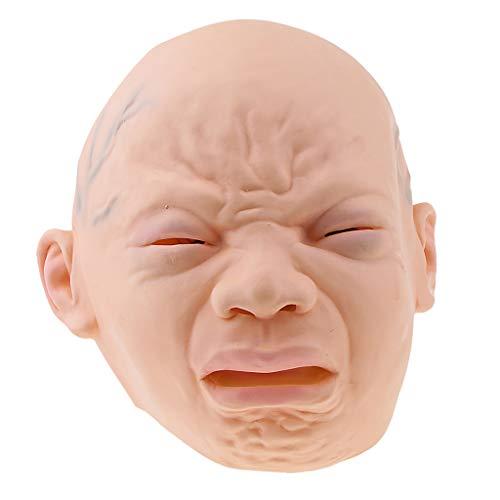 Baoblaze Horror Weinende Baby Maske für Halloween Karneval und Kostümparty, aus Latex (Baby Maske Halloween)