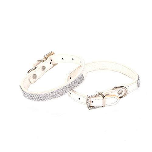 wwzEITpV 1pcs Lustige Glänzenden Strass Collar-Katze-Hundehalsketten-Dekor-Bewegliche Hundeleine Kragen Mode Kragen-Haustier-Dekoration Weiß