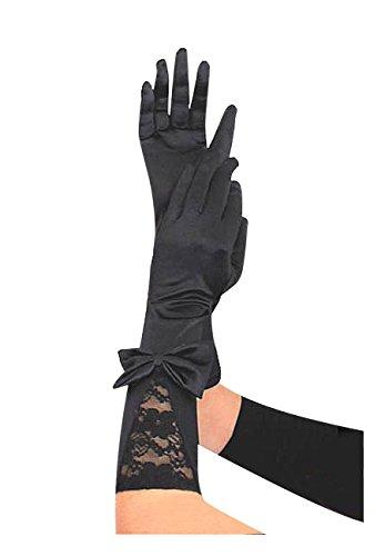Krautwear® Damen Lange Schwarze Satin Handschuhe Abendhandschuhe mit Spitze Und Schleife (Lange Schwarze Damen Handschuhe)