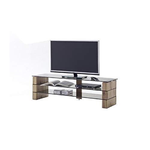 Lowboard Kari 140 MCA chêne massif verre gris brun gris bois massif