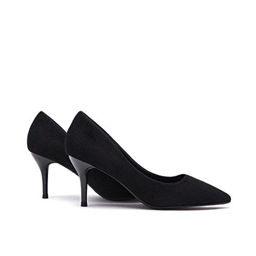Talons hauts noirs bien avec chaussures pointues de 6,5 cm