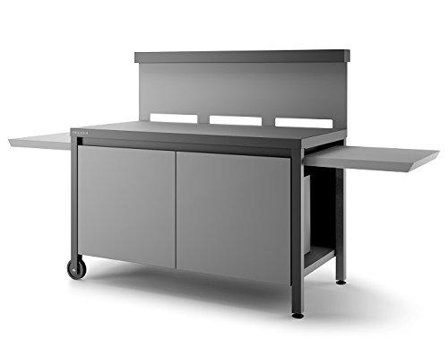 Table roulante crédence fermée en acier Forge Adour - Noir et gris clair mat