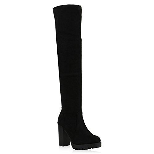 Bootparadies Fashion Ladies Stivali Profilo Suk Overes Blocca Tacco Flandell Nero Nero Totale