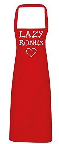 hippowarehouse Lazy Bones Cute Love Herz Schürze Küche Kochen Malerei DIY Einheitsgröße Erwachsene, rot, Einheitsgröße (Erwachsenen Grave Ghoul Kostüme)