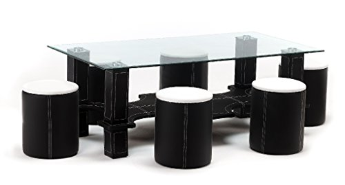 Contemporary LUXOR Glass Coffee Table with 6 Matching Stools in a Black & White Faux Leather Finish