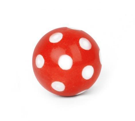 Pomo Tirador para Muebles Ball Rojo con Lunares Blancos–Cerámica Pomos para la habitación