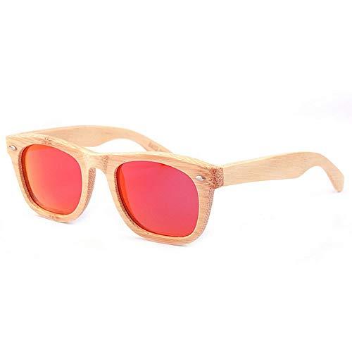 XHCP Frauen Klassische Sonnenbrille Frauen Persönlichkeit Handgemachte Bambus Sonnenbrille Polarisierte TAC Farbe Objektiv UV Schutz Fahren Urlaub Angeln Strand Outdoor Sonnenbrille (Farbe: Rot)
