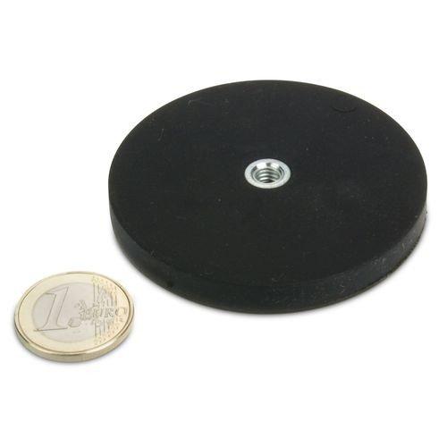 Magnetsystem Ø 66 mm gummiert, Innengewinde M6 - hält 25 kg Extrem stark durch Neodym-Magnete Powersysteme Haft Magnete