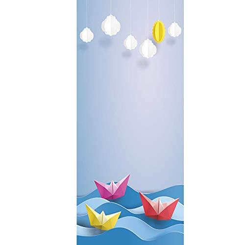 LYMTZ 3D Tür Aufkleber 90X200 Cmcartoon Nette Ozean Strand Blauer Himmel Landschaft Tapete Selbstklebende Tür Wandbild - Kinderzimmer Wanddekoration Tür Film Poster Tür Tapete Wasserdicht Aufkleber -
