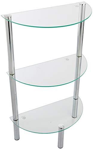 haku möbel 90242 - mobiletto per bagno, con struttura in acciaio e ripiani in vetro temperato, colore: cromato