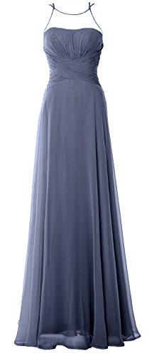 MACloth Elegant Halter Long Bridesmaid Dress Chiffom Simple Prom Formal Gown Steel Blue