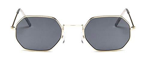 WSKPE Sonnenbrille Frauen Sonnenbrille Mit Kleinem Rahmen Polygon Klare Linse Sonnenbrille Herren Sonnenbrille Hexagon Metallrahmen Schwarz Objektiv