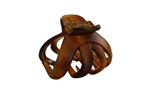 Haarkralle Oktopus Clip Schmetterling Bulldoggen Design Plastik - Braun, Ca. 55mm Lang