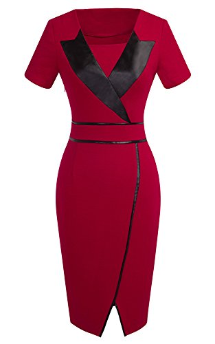 HOMEYEE Frauen Elegante Kurze Hülse dünne Knie Formale Abend Abnutzung um Kleid B366 (EU 36 = Size S, Rot)