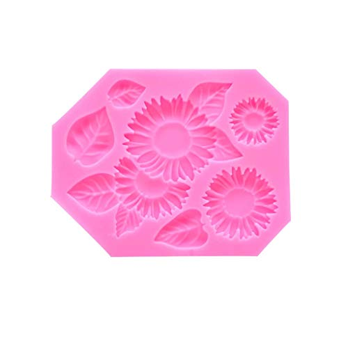 Akeelii Kuchenform Sonnenblumen Schokoladen Backen Werkzeug DIY Kuchen Silikon Form (Rosa)